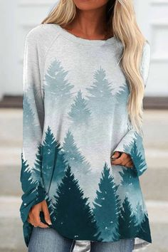 Casual Gradient Landscape Forest Mountain Jacquard T-shirt - Urwes Womens T Shirt Dress, Tee Dress, Casual Dresses, Short Dresses, Loose Dresses, Short Mini Dress, Dress Long, Mini Vestidos, Types Of Dresses