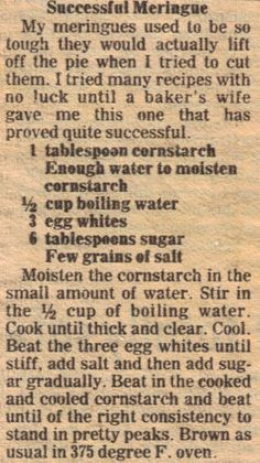 Successful meringue vintage recipe clipping recipes that deserve a comeback Retro Recipes, Old Recipes, Vintage Recipes, Sweet Recipes, Cake Recipes, Dessert Recipes, Cooking Recipes, Recipies, Family Recipes