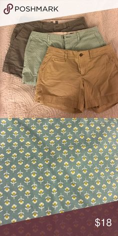 """Old Navy bundle of Women's shorts - size 8 Three pair of women's shirts, size 8 from Old Navy.  Minimal wear, purchased in 2016.  Grey and Tan have 5"""" inseam.  Green floral pattern have 3"""" inseam. Old Navy Shorts"""