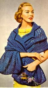 Stole - stole with collar is from 1957. You'll make this using sport weight yarn and a number 6 hook.