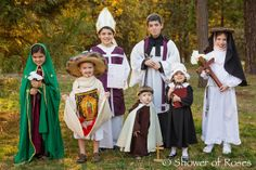 Shower of Roses: Celebrating the Saints :: Our 2013 Costumes! Catholic Kids, Catholic Saints, Catholic Homeschooling, Catholic School, Diy Costumes, Halloween Costumes, Saint Costume, Elizabeth Ann Seton, Mustache And Goatee