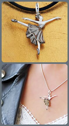Sterling Silver Rhodium Plated Necklace Ballerina