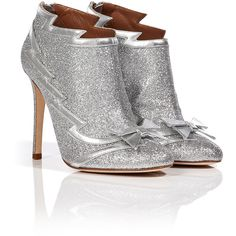 Laurence Dacade Leather Ankle Boots ($175) ❤ liked on Polyvore featuring shoes, boots, ankle booties, ankle boots, schuhe, silver, leather bootie, leather high heel boots, high heel boots and glitter booties