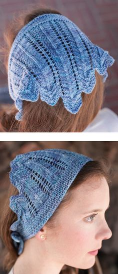 Knitting Pattern for Taking Flight Kerchief - Headwrap designed to look like feathers. Size can easily be adjusted by adding or removing repeats. Designed by Jennifer Chase-Rappaport