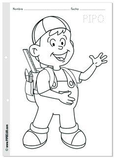 PIPO Vuelta al cole - #Colorear #escuela #infantil  #School #coloring #Preschool #boy #Pipo