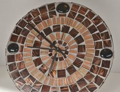 Handmade Mosaic Clock Round Glass Tiles and Gems in by gcbmosaics