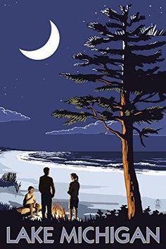 Lake Michigan - Bonfire at Night Scene - Lantern Press Artwork Art Print, Wall Decor Travel Poster), Multi Lake Michigan, Michigan Travel, State Of Michigan, Northern Michigan, Wisconsin, Muskegon Michigan, Elk Rapids, Party Vintage, Unique Vintage