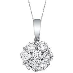 Allurez Diamond Cluster Flower Pendant Necklace in 14k White Gold... ($1,590) ❤ liked on Polyvore featuring jewelry, necklaces, accessories, diamonds, white, flower necklace, pendants & necklaces, pendant chain necklace, white gold pendant necklace and white necklace