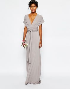 We're in love with this amazing opal grey bridesmaid dress!