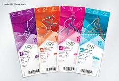 Ticket design's for the 2012 Olympic and Paralympic Games. Designed by Futurebrand.