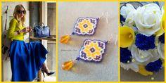 #peyotestitch #earrings #seedbeads #delica #maiolica #blue #yellow #white #blu #giallo #bianco