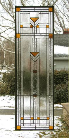 Stained Glass Window Panel - Sidelight--Praire School Style. $491.00, via Etsy.