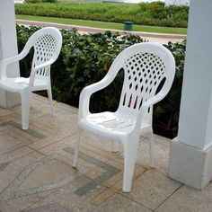 white lawn chairs plastic counter height upholstered how to clean chalky backyard cleaning hacks