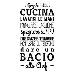 "Wallsticker ""Regole della Cucina"" nero 45 x 95 cm Rustic Kitchen Design, Kitchen Designs, Kitchen Ideas, Italian Quotes, Love Home, Home Living, Interior Design Tips, Kitchen Styling, Sweet Home"