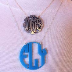 Custom acrylic initial necklaces.  www.charlottesinc.com  $58