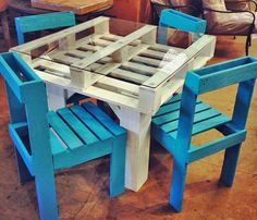 outdoor pallet furniture | Pallet furniture - Bridgman Furniture & Outdoor Living BloB.C. I like the blue chairs.. Good for patio chairs?   Might be an option for guided reading table with memory foam cushions on the chairs??