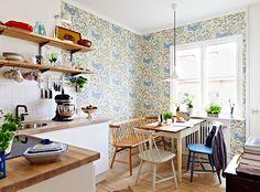 kitchen dining rmom, wallpaper, bench, open shelfing