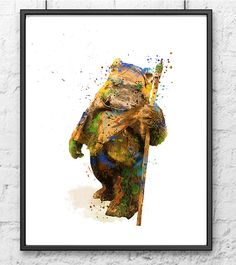 Star Wars Watercolor Print Ewok Poster The Force by gingerkidsart