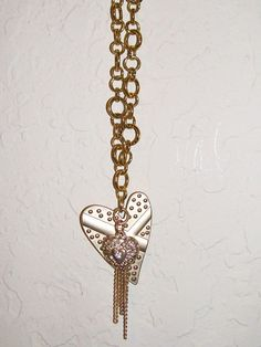 Charm Necklace Goldtone Heart Charm Necklace by NonisEclecticShop, $15.00