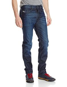 Mens Diesel Mens Buster Regular Slim Tapered Jeans in Denim - 34R Men's Diesel Buster Regular Slim Tapered Jeans in Denim.- Button fly.- Five pocket styling.- Subtle distressed detail to pockets.- Belt loops to the waist.- Faded effects- Slim fit.- Tappered.- Branding details to pocket and rear tab.- Short inside leg length approx. 30″, Regular inside leg length approx. 32″- 98% Cotton, 2% Elastane. Machine Washable.- Ref: 00SDHA0844C01.- Measurements are i