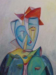 Borrelhoofd in kubistische stijl