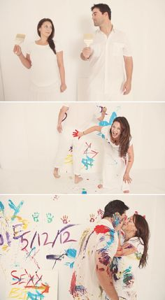 Engagement photo, such a cute different idea. especially if you just bought a new house together!
