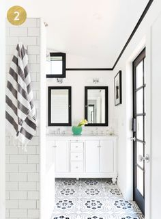 Black and white eclectic bathroom decor: http://www.stylemepretty.com/living/2016/08/08/cast-your-vote-for-round-2-of-style-me-pretty-living-dream-home-awards/