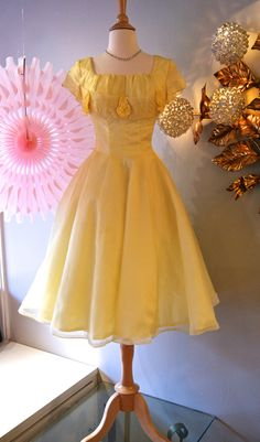 1960s Dress // Vintage 60s Sunny Yellow Party by xtabayvintage, $248.00