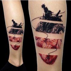 anatomical broken heart tattoo black red