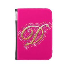 Pink Kindle Case with Initial D Ipad 1, Ipad Case, Initial D, Kindle Case, Diamonds, Notebook, Mini, Cover, Gold