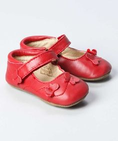 En Fant Red Leather Butterfly Shoes by En Fant on #zulily today!