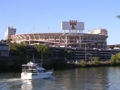 Tennessee Vols Football - Neyland Stadium - the Tennessee River side, where the Tennessee Vol Navy docks for the games