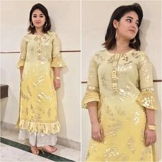 10 Looks That Are Testimonial Of Zaira Wasim's Superstar Status is part of Kurti sleeves design - Do you remember the young Geeta from Dangal If you do, then you know the super talented and beautiful girl we are talking about Two movie old Kurta Designs Women, Kurti Neck Designs, Dress Neck Designs, Kurti Designs Party Wear, Latest Kurti Designs, Blouse Designs, Latest Salwar Kameez Designs, Churidar Designs, Kurti Sleeves Design
