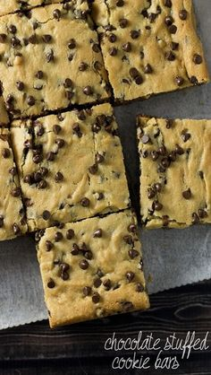 Soft and Chewy Chocolate Stuffed Cookie Bars. (chocolate chip cookies with margarine) Delicious Cookie Recipes, Yummy Cookies, Sweet Recipes, Dessert Recipes, Yummy Food, Tasty, Bar Recipes, Bar Cookies, Chewy Chocolate Chip Cookies