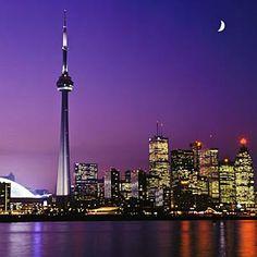 Toronto CN Tower features glass floor observation decks, and a revolving restaurant.