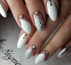 party nail art designs 2019 , Be it a glitter prime coat or fiery red, party nail art styles square measure far more than you ever thought There square measure dark blues and blacks, deep reds, even mossy greens to form a celebration rage to not fo - # Black Nail Art, New Nail Art, White Nails, Hair And Nails, My Nails, Seashell Nails, Colorful Nail Art, Nagel Hacks, Nail Jewels