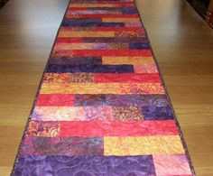 Contemporary Purple Red Quilted Table Runner by HollysHutch