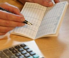 checkbook and calculator