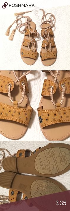 Boho 🌼✨ Lace Up Sandals by Chinese Laundry SO cute! Never worn! Been in my closet - a little too small on me. Thanks for looking! Questions and reasonable offers always welcome 😊✨🤗  ✨bundle + save 💸 ✨not trading                                                  ✨happy Poshing 🤗👛👡 Chinese Laundry Shoes Sandals