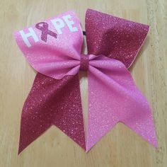 Breast Cancer Cheer Bow by LilDCheerBows on Etsy