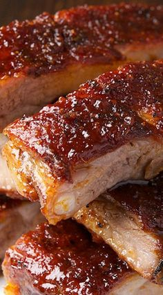 St Louis Ribs with Maple BBQ Sauce - slow roast at 225 degrees for 3 to 4 hours. Recipe for Maple BBQ Sauce and a Dry Rub - YUM! Grilling Recipes, Pork Recipes, Sauce Recipes, Cooking Recipes, Smoker Recipes, Cooking Tips, Recipies, Barbecue Recipes, Maple Bbq Sauce Recipe