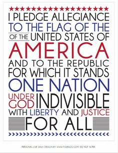 4th of july printable - With a few tweaks, I think this could be made into a smashing cross stitch pattern!  Of course, I personally would use the pre-1950's pledge, but that's just me.  :D
