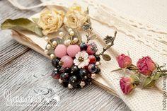 """Купить Брошь """"Зимний сад"""" - брошь с ягодами, брошь с цветами, нежная брошь, нежное украшение"""