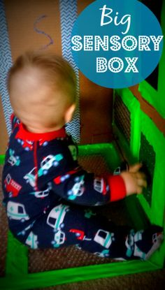BIG Sensory Box For Babies and Toddlers.  Putting sensory materials in a large box so your busy baby/toddler can access it as they please!