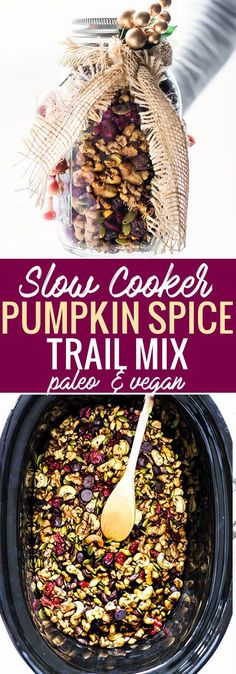 This pumpkin spice trail mix is not only easy to make in the slow cooker, but paleo and vegan friendly too! Dark chocolate, cocoa nibs, cranberries, Walnuts, pumpkin spice, and more! Great as a Holida (Dark Chocolate Gift)