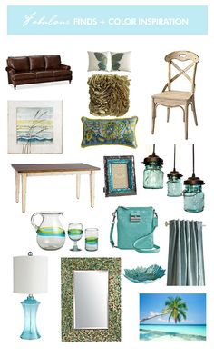 Inspiration Board by Serendipity Creative - Fab Find's plus Color Inspiration - Turquoise...Leather Sofa - Pottery Barn, Turquoise Swing Bag - Coach,   Vintage BLUE Canning Jar CHANDELIER - LampGood's Etsy store. (How cool is that?!)  All other finds - Pier 1 (dangerous store for me! I shall sneak these in one by one until the hubby notices them...sometimes that takes a long time. LOL)