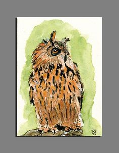 Eagle Owl Original ACEO Miniature Collectible Watercolor Painting | Signed BRJ #Miniature