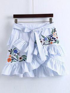 Pinstrip Ruffle Trim Overlap Front Skirt