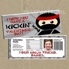 Ninja Valentines Day Cards Candy Bar Wrappers  by thatpartygirl