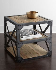 Side table with a modern, industrial-inspired aesthetic. Made of reclaimed fir and steel. Please note: because these pieces are crafted using reclaimed lumber, each will display cracks, scrapes, and i